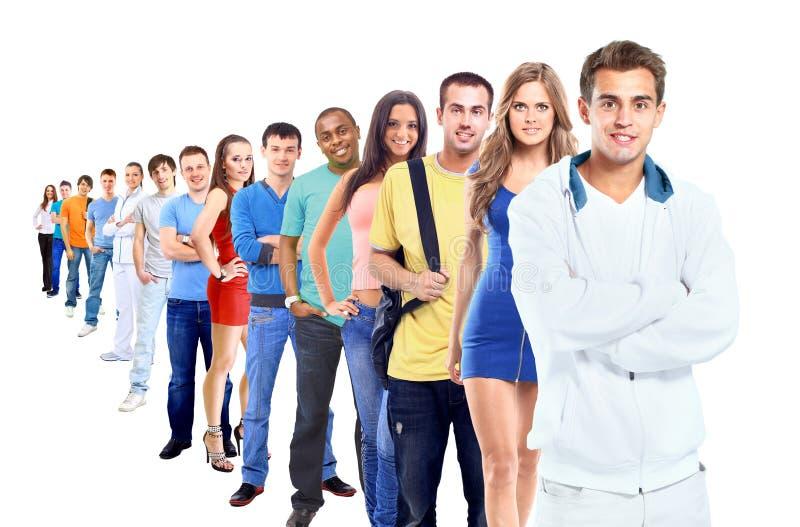 Groep mensen op wit stock foto's