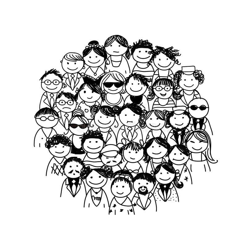 Groep mensen voor uw ontwerp stock illustratie