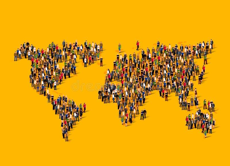 Groep mensen in vorm van wereldkaart Globalisering, bevolking, sociaal concept stock illustratie