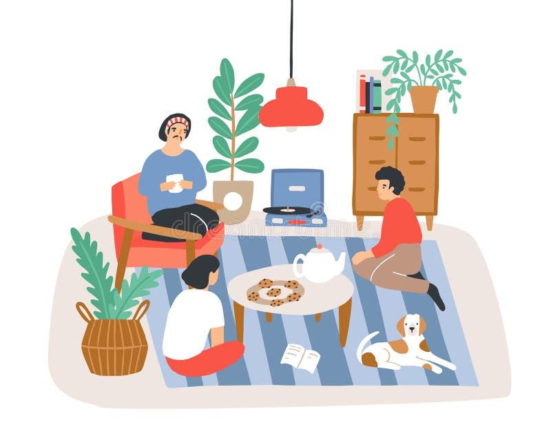 Groep mensen of vrienden die in flat op z'n gemak zitten die in Skandinavische hyggestijl wordt geleverd en aan elkaar spreken stock illustratie