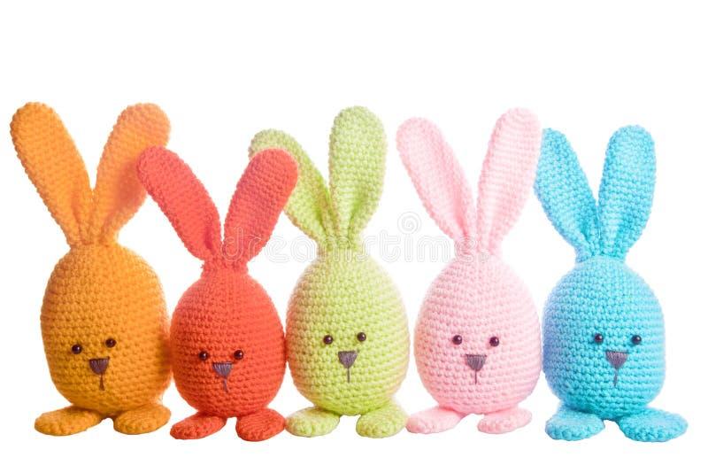 Groep met de hand gemaakt gevuld dier bunnys royalty-vrije stock fotografie
