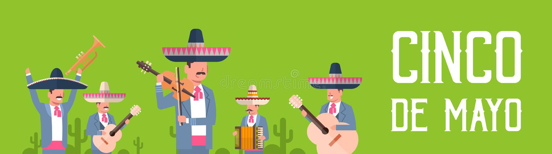 Groep Mexicaanse Musici in Traditionele Kleren met Sombrero en Maracas Cinco De Mayo Festival Poster Design vector illustratie