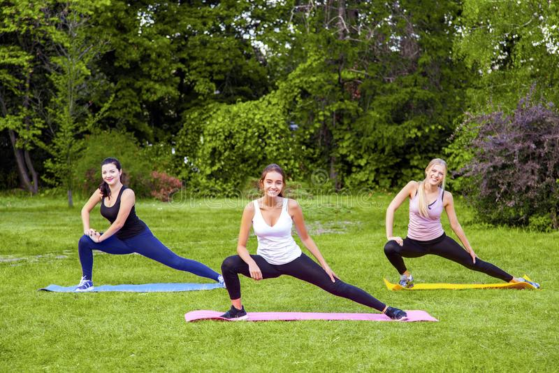 Groep mooie gezonde slijmerige vrouw die exersices op mat in het groene gras in het park doen, die benen streching, die camera be royalty-vrije stock afbeelding