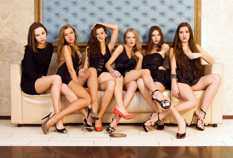 Groep mooie modellen royalty-vrije stock foto