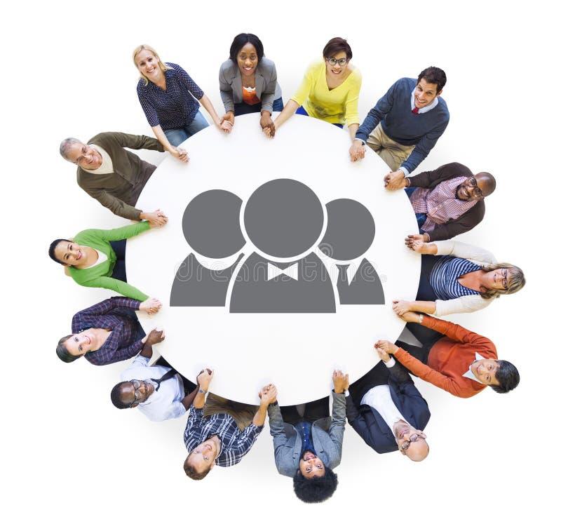 Groep Multi-etnische Mensen in Groepswerkconcept royalty-vrije stock foto's