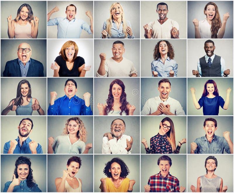 Groep multiculturele succesvolle jubilant mensen stock afbeeldingen