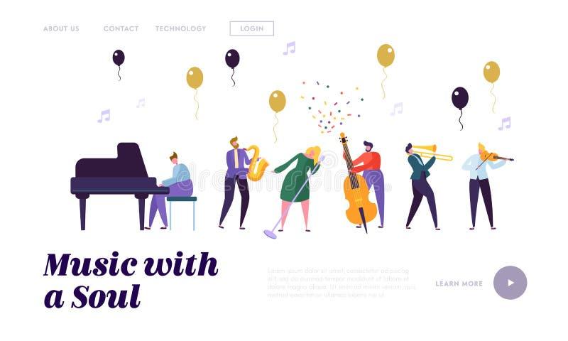 Groep Musicus Artists, Populaire Jazz Band Performing op Stadium met Diverse Muzikale Instrumenten op Muziek Hall Stage stock illustratie