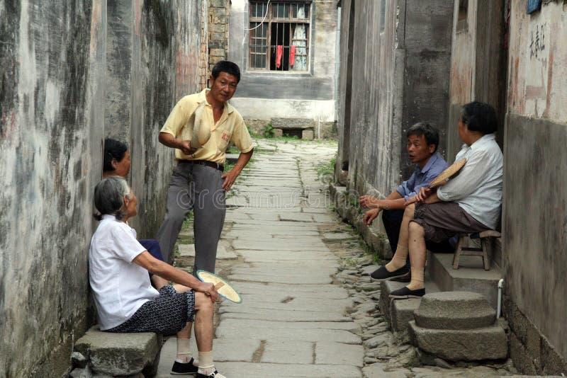 Groep oudere dorpsbewoners, Anhui-provincie, China royalty-vrije stock foto