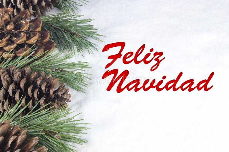 Groep pijnboombomen en sommige takken met tekst in Spaanse ` Feliz Navidad ` op witte sneeuwachtergrond stock foto