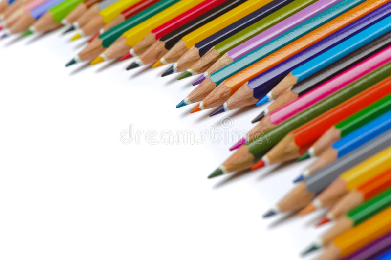 Groep potloden met kleur stock foto