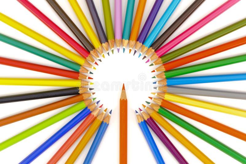 Groep potloden met kleur royalty-vrije stock afbeelding