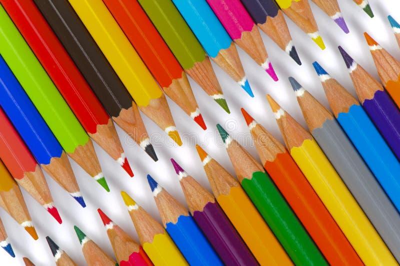 Groep potlood met kleur als ritssluiting stock afbeeldingen