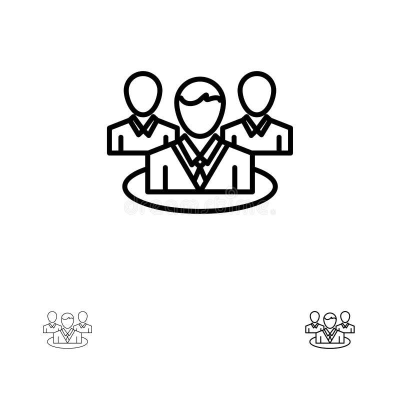 Groep, Praatje, Roddel, het pictogramreeks van de Gespreks Gewaagde en dunne zwarte lijn stock illustratie