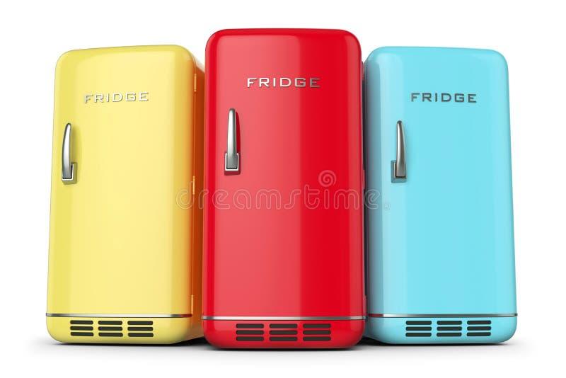 Groep retro gekleurde koelkasten in rij vector illustratie