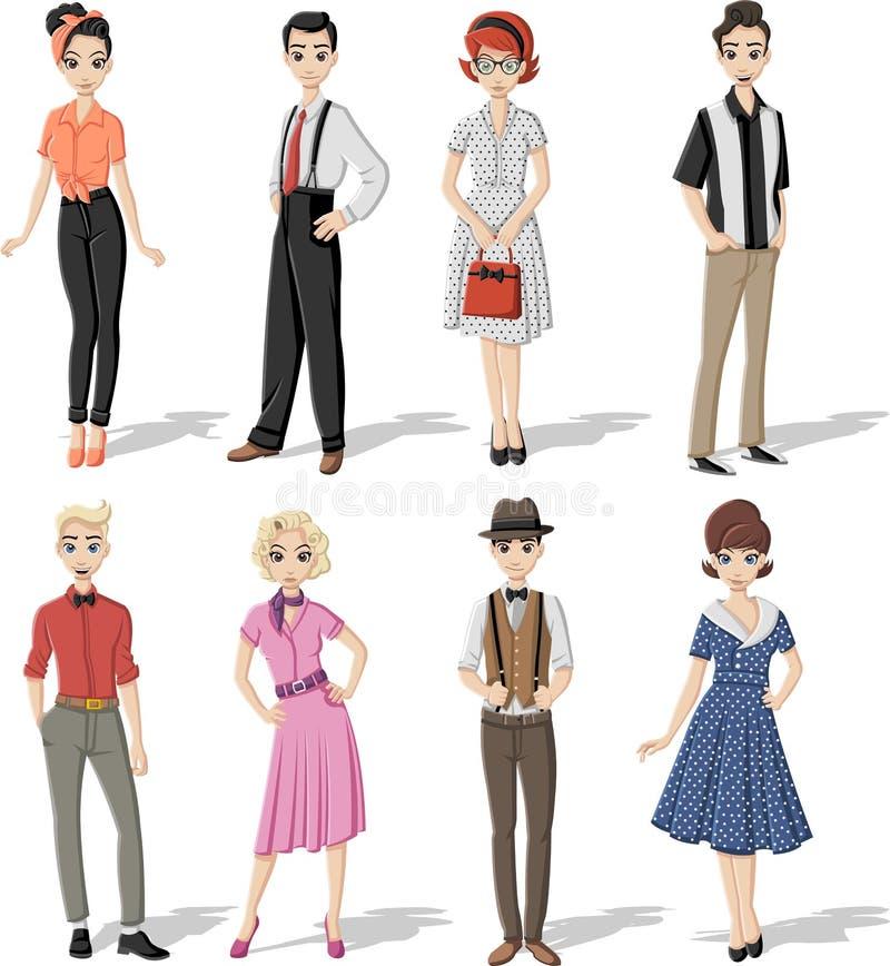Groep retro mensen royalty-vrije illustratie