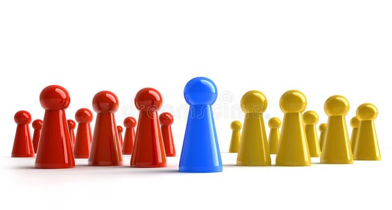 Groep rode blauwe en gele panden - 3D illustratie royalty-vrije illustratie