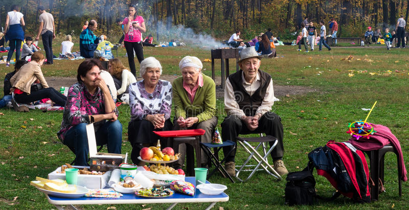 Groep Russische Gepensioneerden in een Park stock fotografie