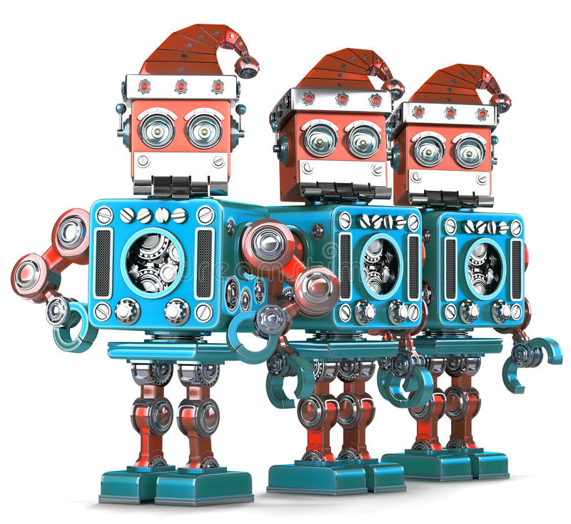 Groep Santa Robots Kerstmistak en klokken Bevat het knippen weg royalty-vrije illustratie