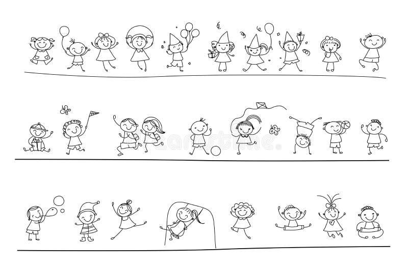 Groep schetsjonge geitjes royalty-vrije illustratie