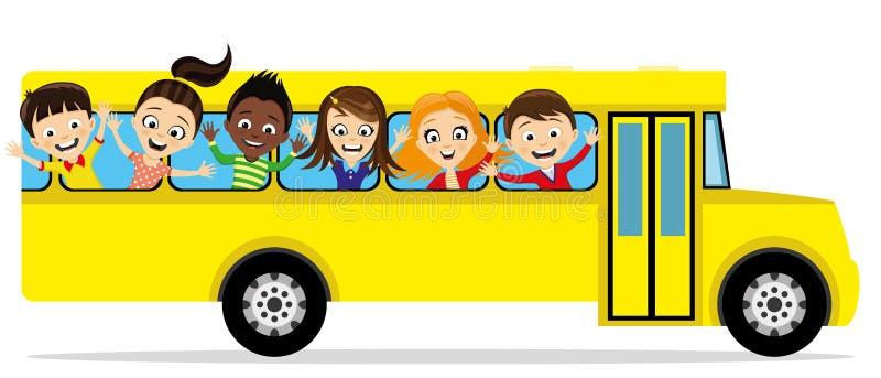 Groep schoolkinderen in een schoolbus royalty-vrije illustratie