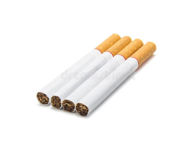 Groep sigaret op witte achtergrond wordt geïsoleerd die stock foto