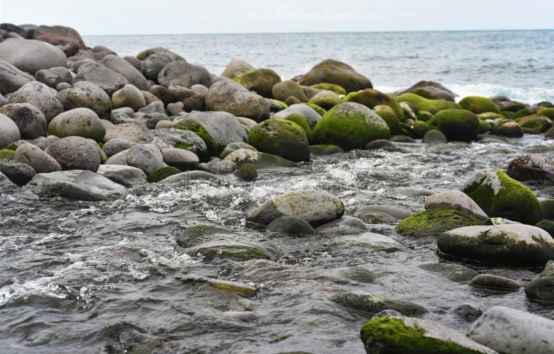 Groep stenen dichtbij de kust van de Atlantische Oceaan stock foto