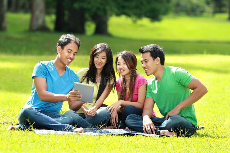 Groep studenten die in het park bestuderen royalty-vrije stock foto's