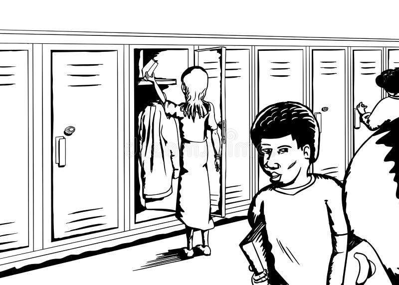 Groep Studenten in Hall Outline stock illustratie