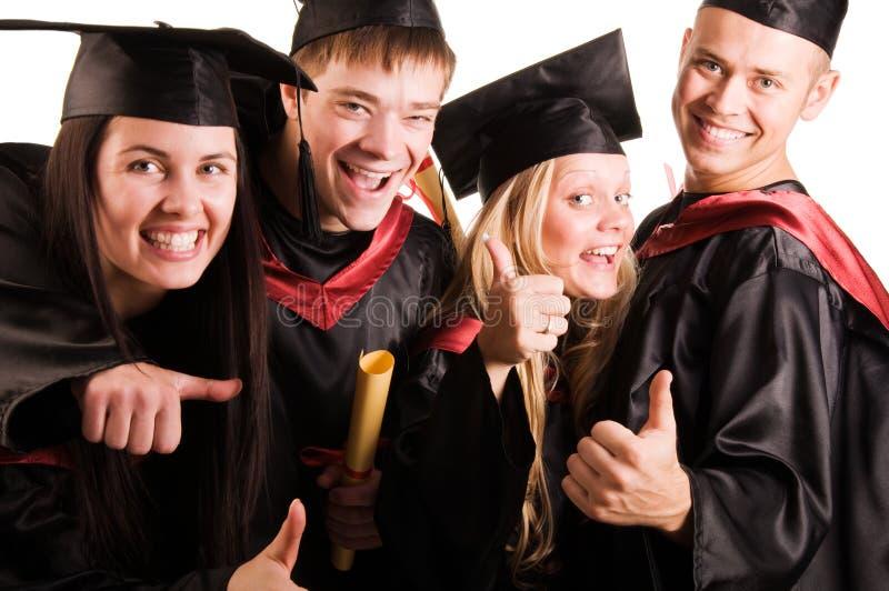 Groep studenten (nadruk op het blonde meisje) stock afbeeldingen