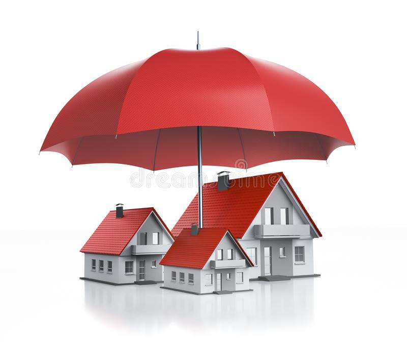 Groep stuk speelgoed huizen met één paraplu royalty-vrije illustratie