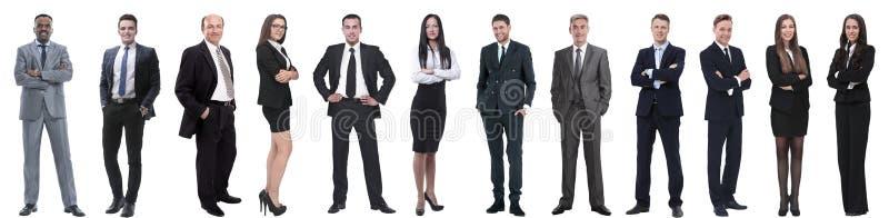 Groep succesvolle bedrijfsdiemensen op wit worden ge?soleerd stock afbeelding