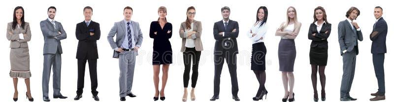 Groep succesvolle bedrijfsdiemensen op wit worden ge?soleerd stock foto
