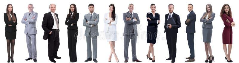 Groep succesvolle bedrijfsdiemensen op wit worden ge?soleerd royalty-vrije stock afbeelding