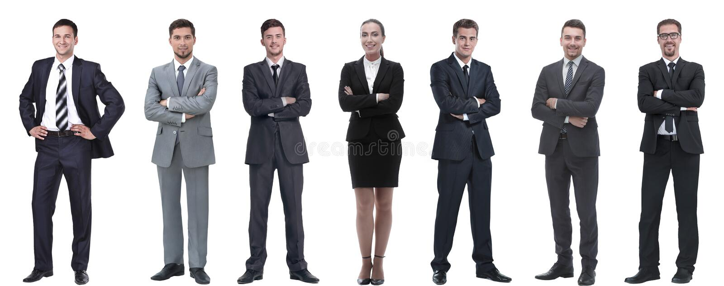 Groep succesvolle bedrijfsmensen die zich op een rij bevinden royalty-vrije stock foto's