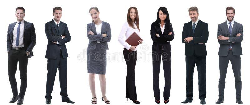 Groep succesvolle bedrijfsmensen die zich op een rij bevinden stock foto