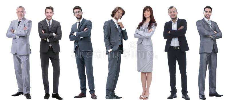 Groep succesvolle bedrijfsmensen die zich op een rij bevinden stock foto's