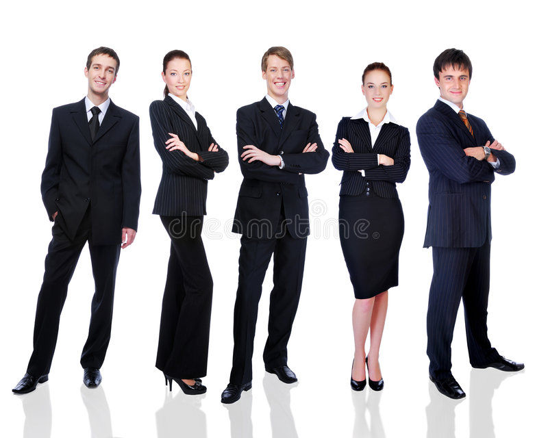 Groep succesvolle glimlachende bedrijfsmensen royalty-vrije stock foto