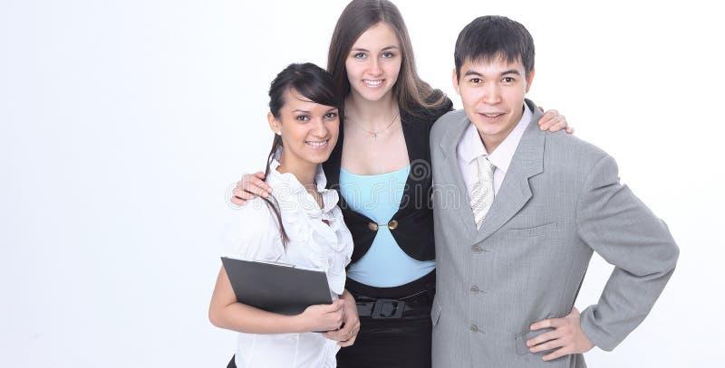 Groep succesvolle jonge bedrijfsmensen Geïsoleerd op wit royalty-vrije stock afbeeldingen