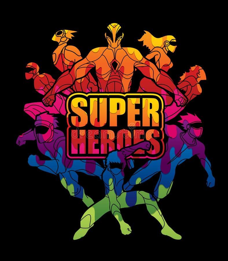 Groep Super Heldenactie met tekst super helden stock illustratie
