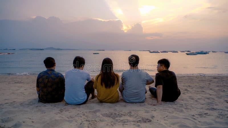 Groep Thaise mensen, Aziatische vrienden die, die flessen bier klinken samen en op vakantie in partij bij het strand of het overz stock afbeeldingen