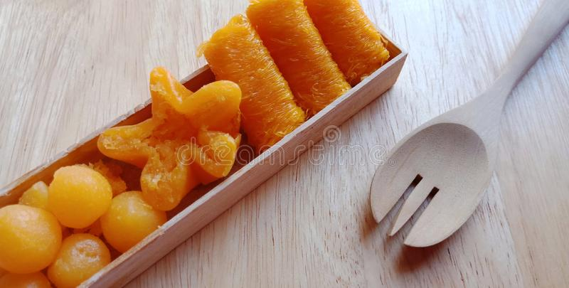 Groep Thaise zoete desserts royalty-vrije stock afbeeldingen
