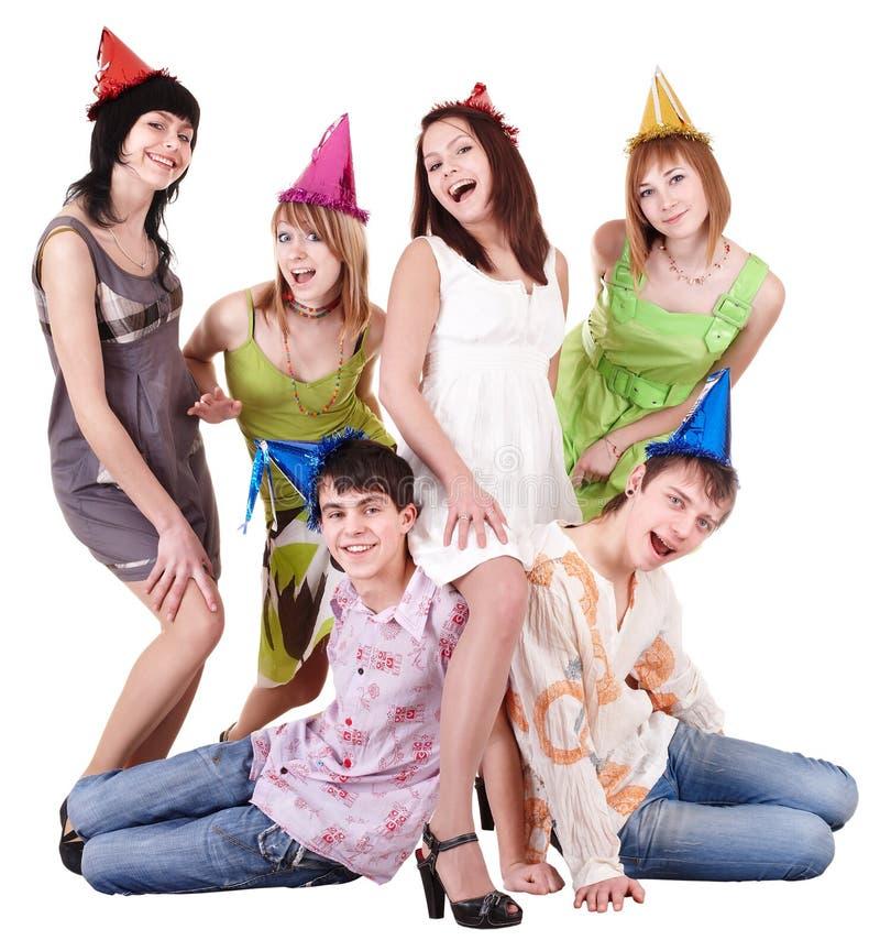 Groep tiener in partijhoed. royalty-vrije stock fotografie
