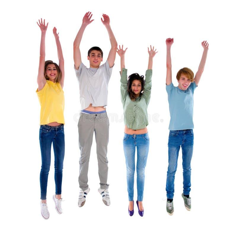 Groep tieners het springen royalty-vrije stock afbeelding