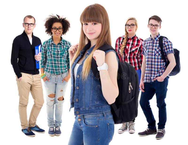 Groep tieners of studenten op wit worden geïsoleerd dat royalty-vrije stock foto's