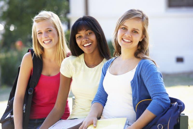 Groep Tienerstudenten die zich buiten de Campusbouw bevinden stock foto's