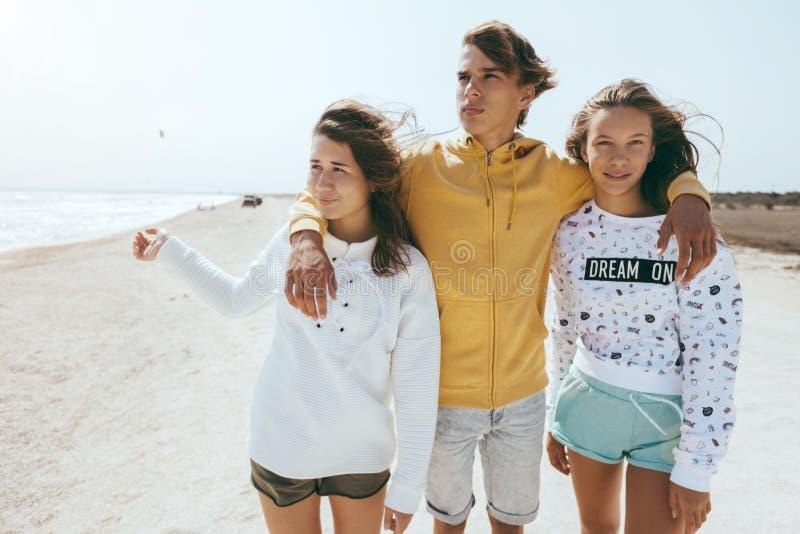 Groep tienervrienden in openlucht stock foto's