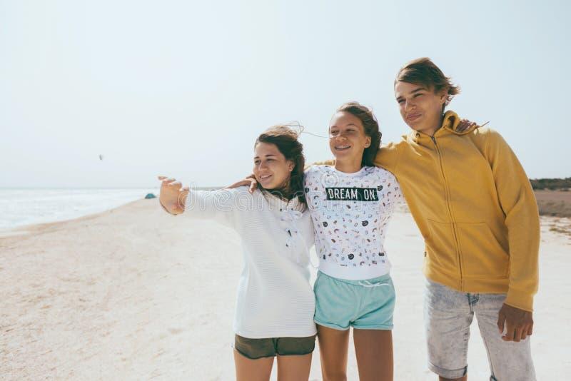 Groep tienervrienden in openlucht stock foto