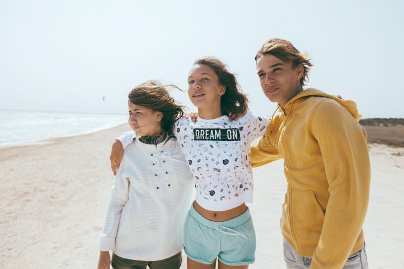 Groep tienervrienden in openlucht stock afbeelding