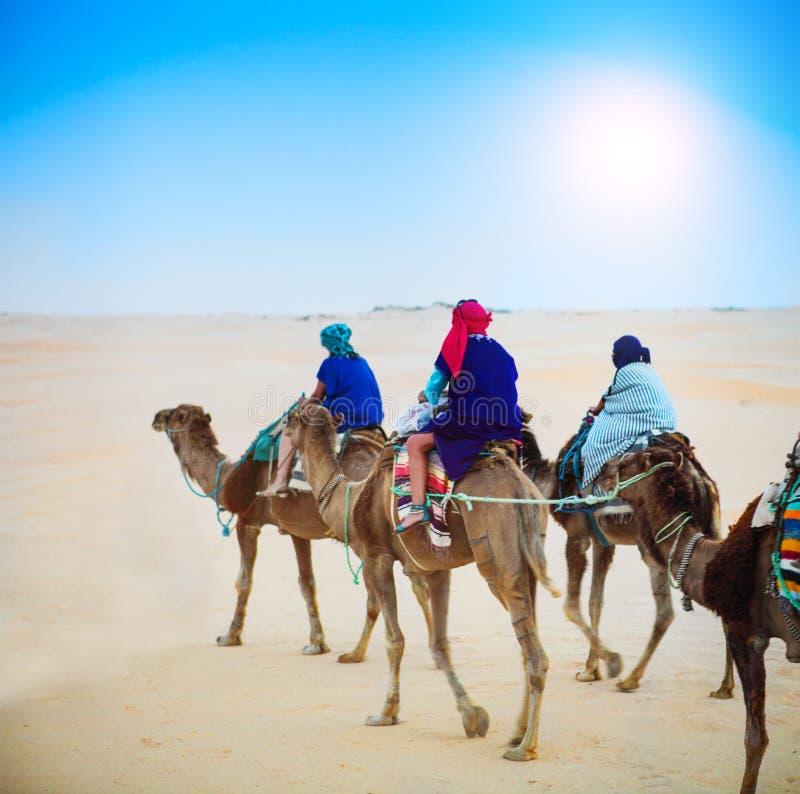 Groep toeristen die voor een safari van de woestijnkameel gaan De Sahara landsc royalty-vrije stock afbeelding