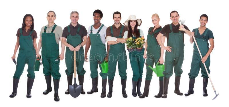 Groep tuinmanarbeiders royalty-vrije stock foto